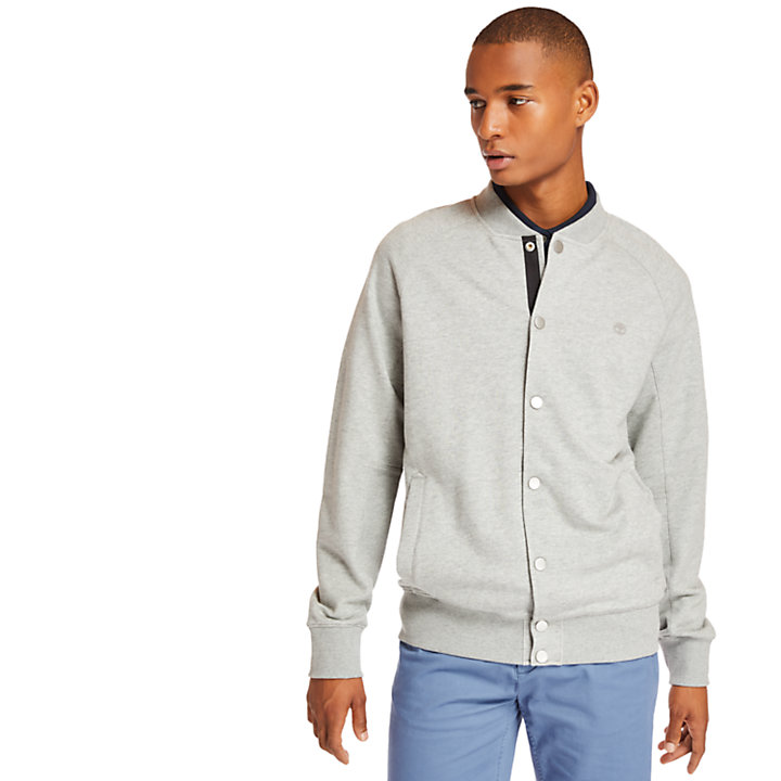 Otter Brook Varsity Bomber Jacket for Men in Grey-