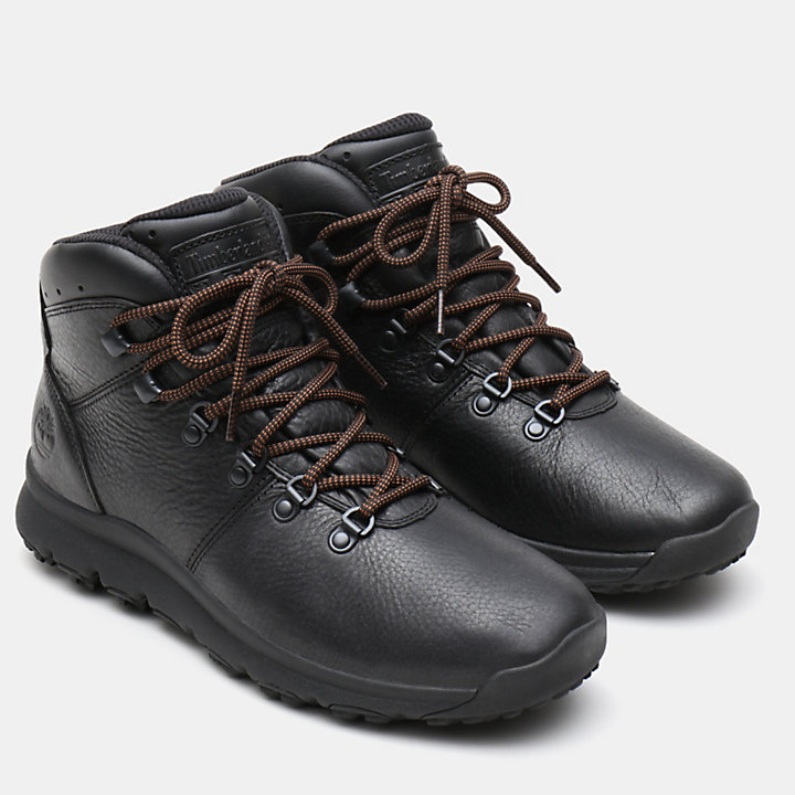World Hiker Leather Hiking Boot for Men in Black-