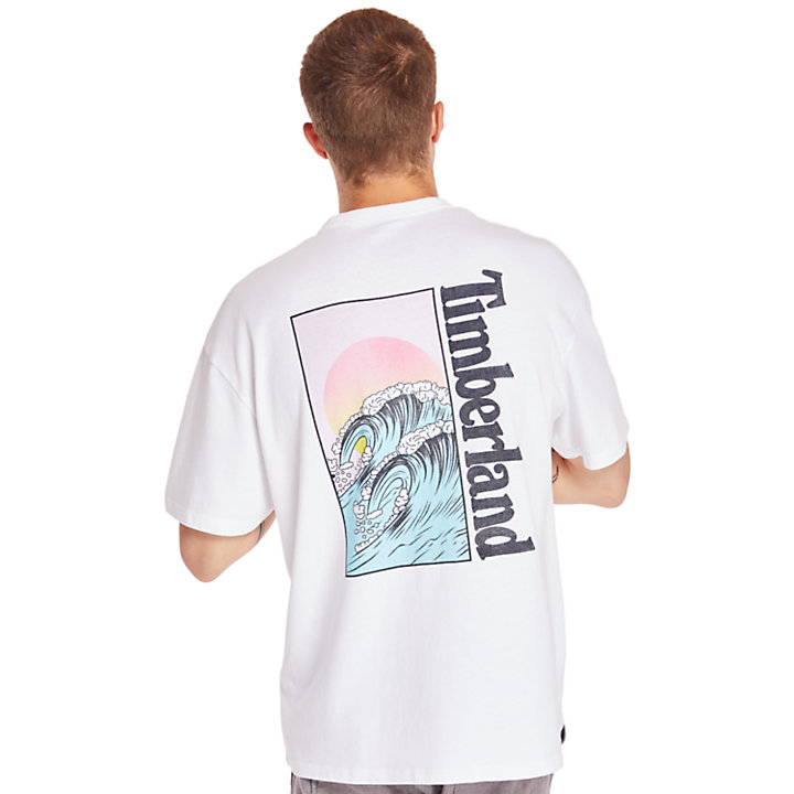 Kennebec River Beach T-Shirt for Men in White-