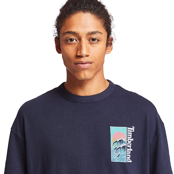 Kennebec River Beach T-Shirt für Herren in Navyblau-