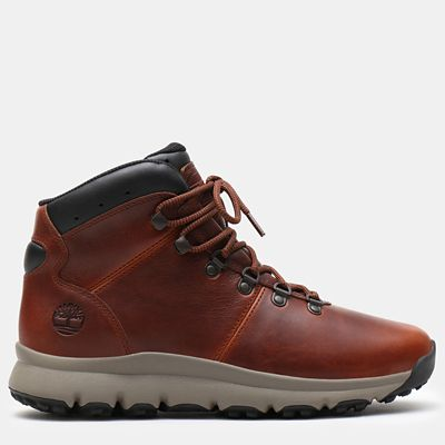 World+Hiker+Leather+Hiking+Boot+voor+Heren+in+bruin