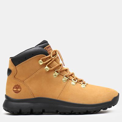 World+Hiker+Leather+Hiking+Boot+voor+Heren+in+geel+nubuck