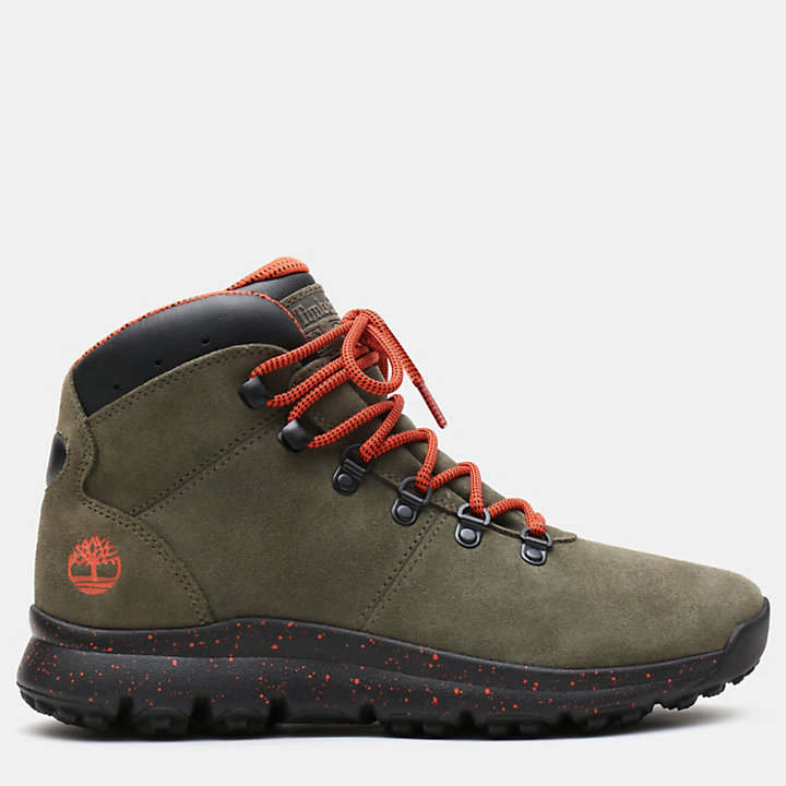 Scarponcino da Trekking da Uomo in Pelle World Hiker in camoscio verde scuro-