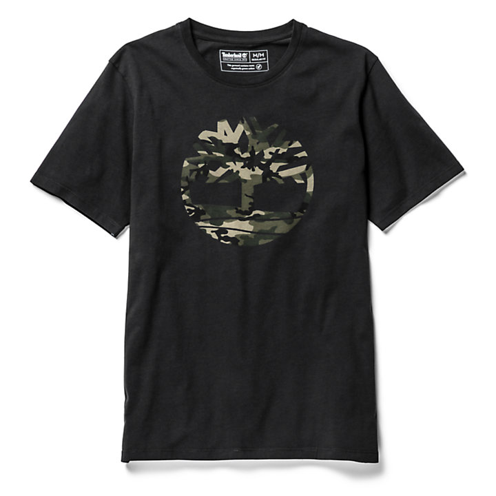 Kennebec River Camo Tree T-Shirt for Men in Black-