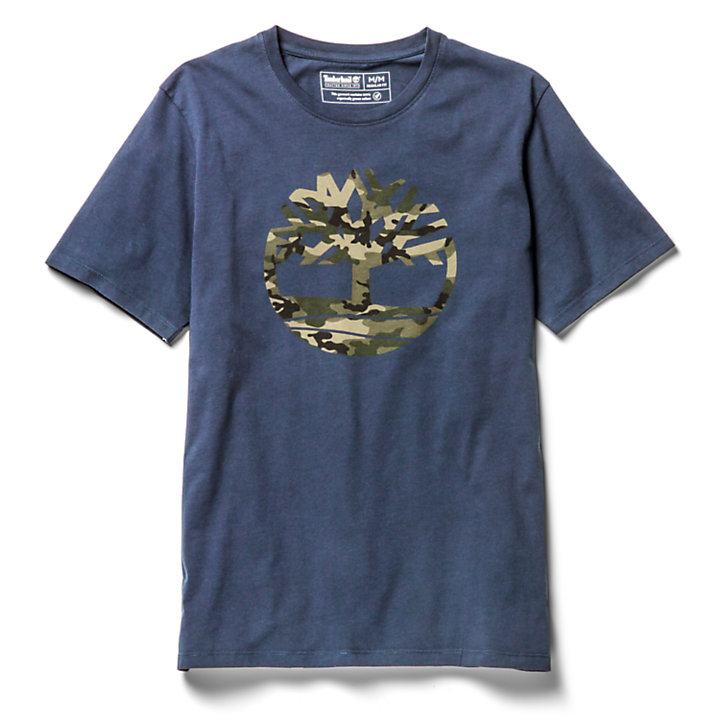 Kennebec River Camo Tree T-Shirt for Men in Navy-