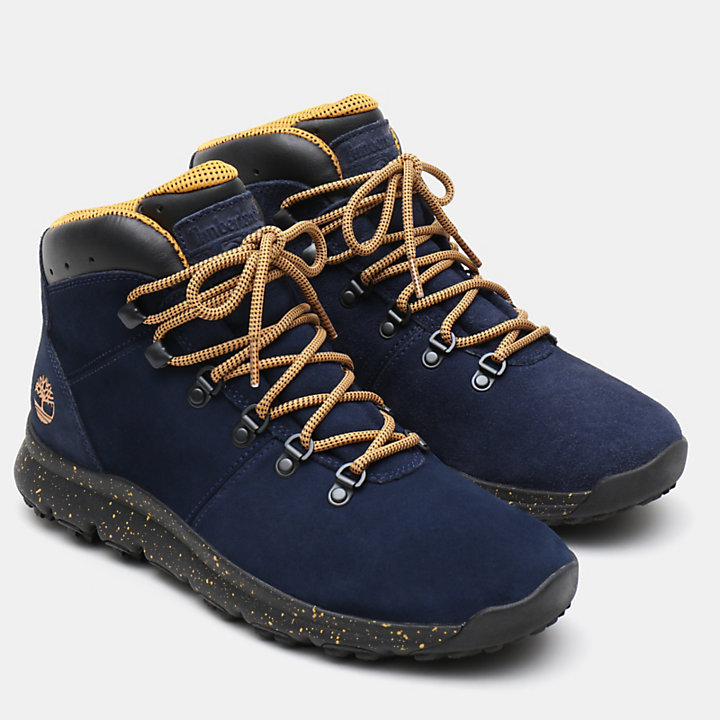 World Hiker Leather Hiking Boots für Herren in Marineblau Veloursleder-