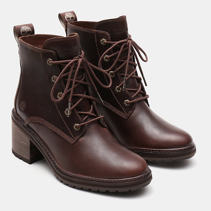 Sienna High Lace-Up Boot for Women in Dark Brown-