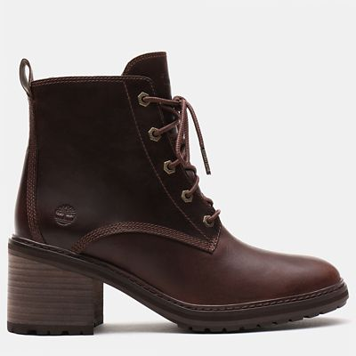 Sienna+High+Lace-Up+Boot+voor+Dames+in+donkerbruin