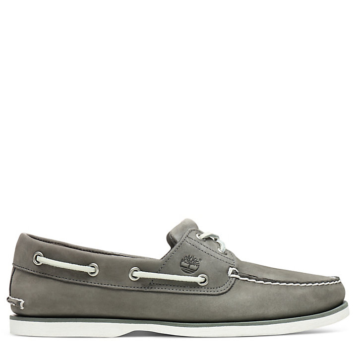 Classic 2-Eye Boat Shoe for Men in Grey-