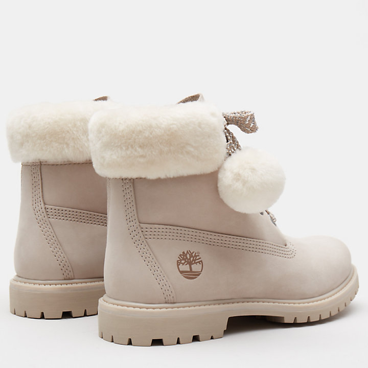 6 Inch Shearling Boot for Women in Light Pink-