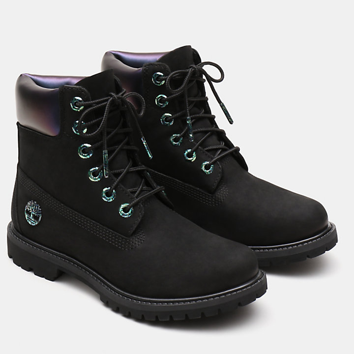 6 Inch Iridescent Premium Boot for Women in Black-