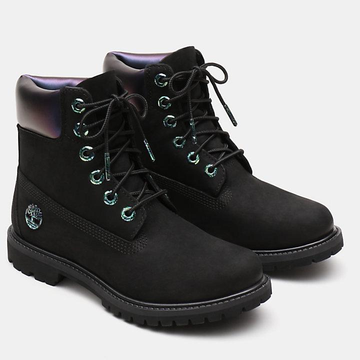 6-Inch Boot Iridescent Premium pour femme en noir-