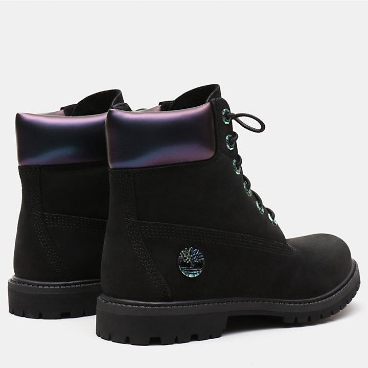 6 Inch Iridescent Premium Boot voor Dames in zwart-