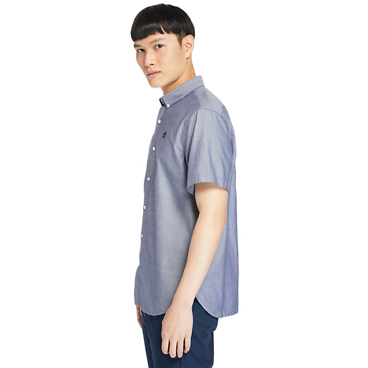 Ela River kurzärmeliges Oxfordhemd für Herren in Navyblau-