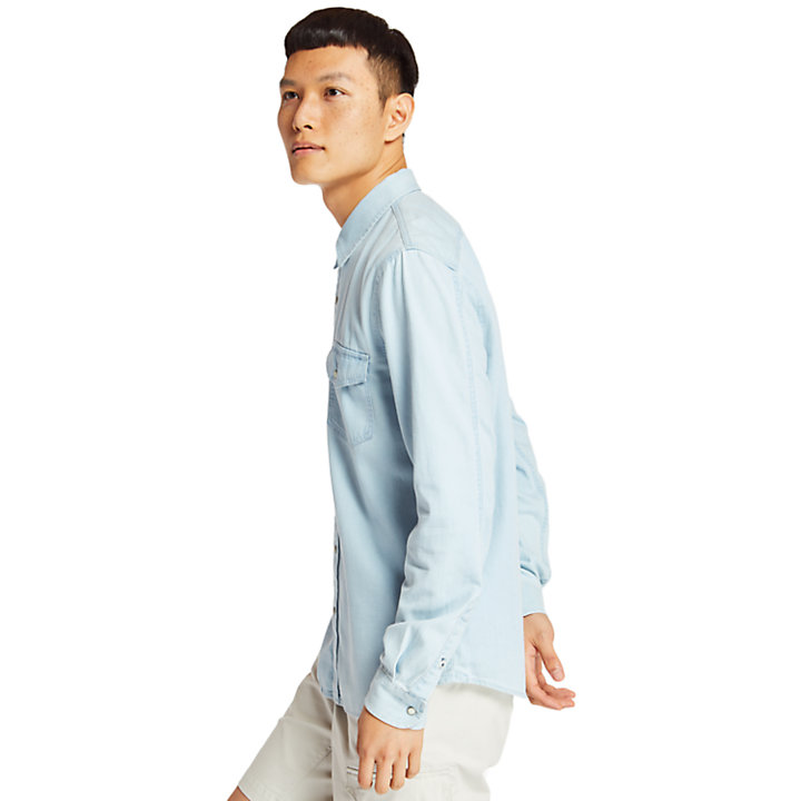 Mumford River Denim Shirt for Men in Light Blue-