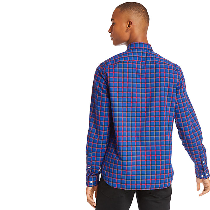 Camicia a Quadri da Uomo in Cotone Eastham River in blu scuro-