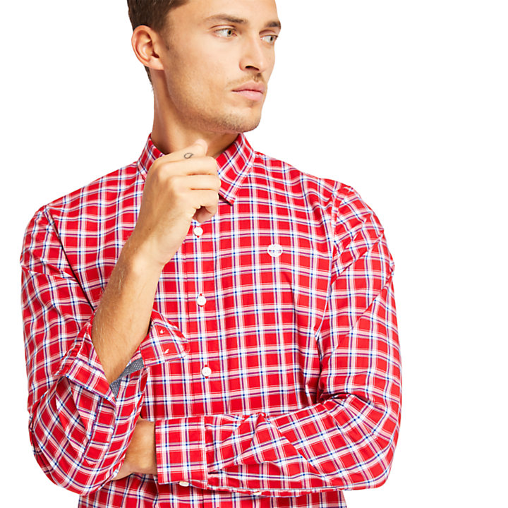 Eastham River Cotton Check Shirt for Men in Red-
