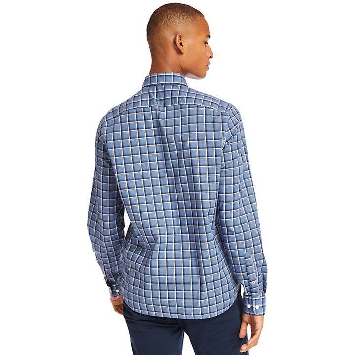 Eastham River Cotton Check Shirt for Men in Blue-