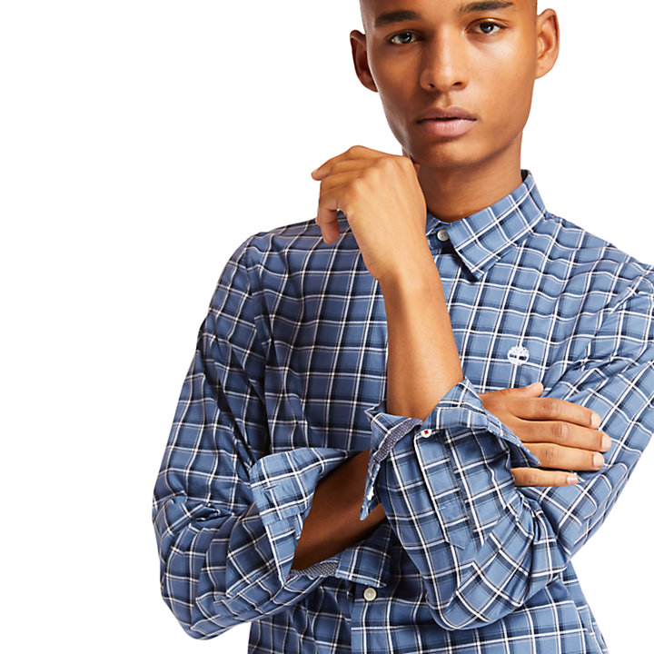 Chemise en coton à carreaux Eastham River pour homme en bleu-