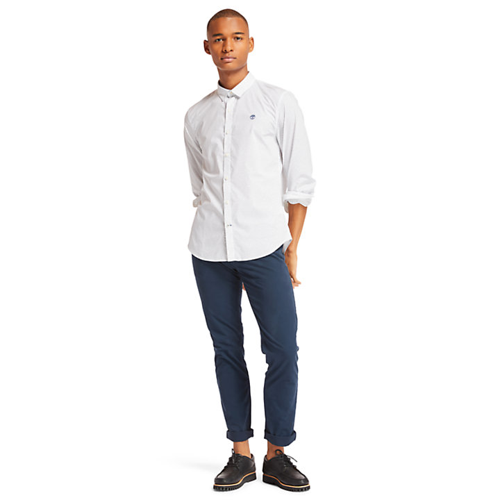 Eastham River Spot Shirt for Men in White-