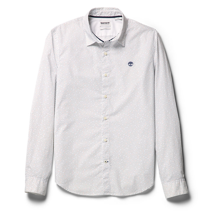 Eastham River Spot Shirt for Men in White-