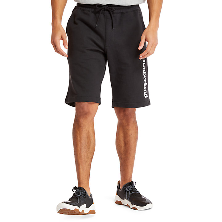 Short en molleton pour homme en noir-