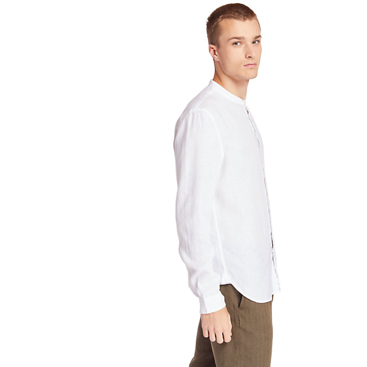 Mill River Linen Korean Collar Shirt for Men in White-