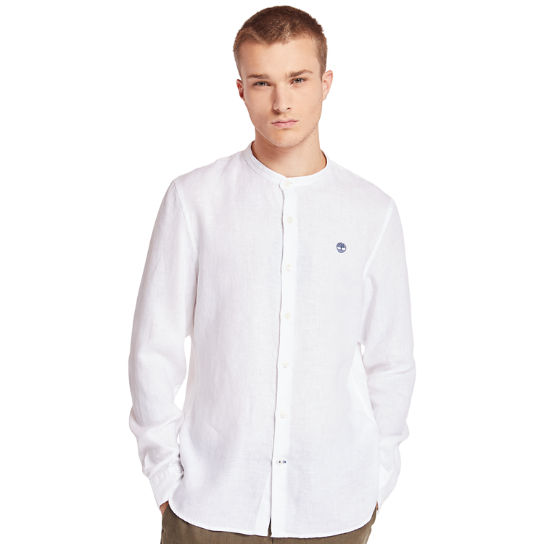 Mill River Linen Korean Collar Shirt for Men in White | Timberland