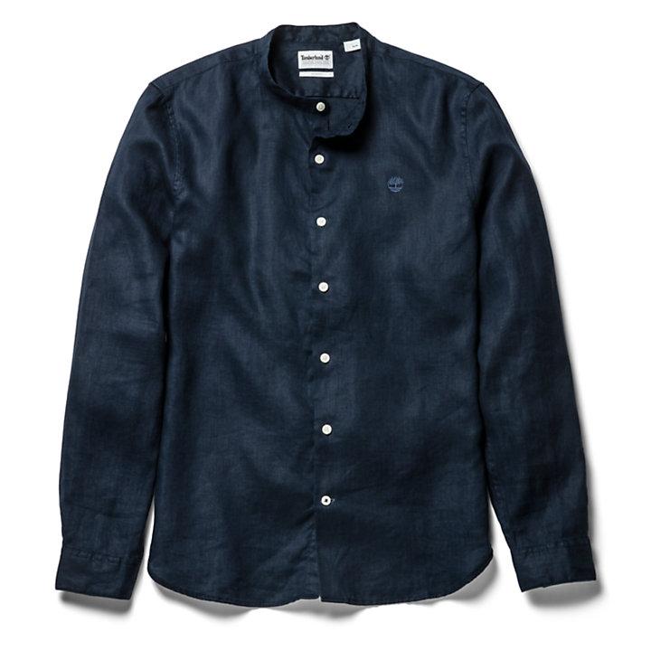 Camicia da Uomo in Lino con Colletto alla Coreana Mill River in blu marino-