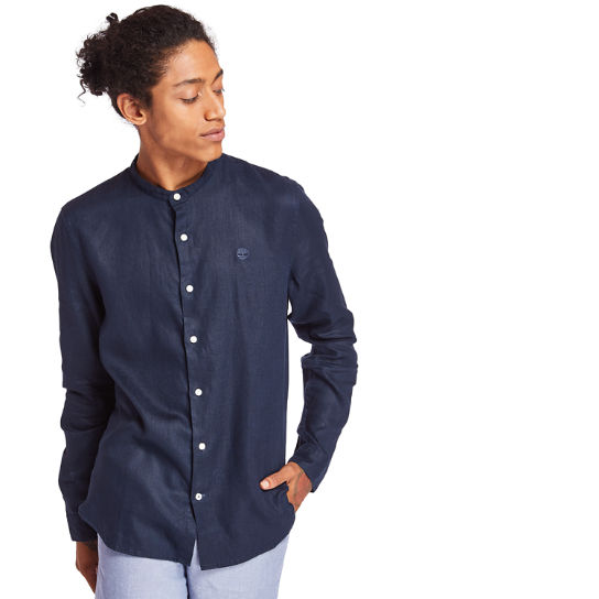 Mill River Linen Korean Collar Shirt for Men in Navy | Timberland