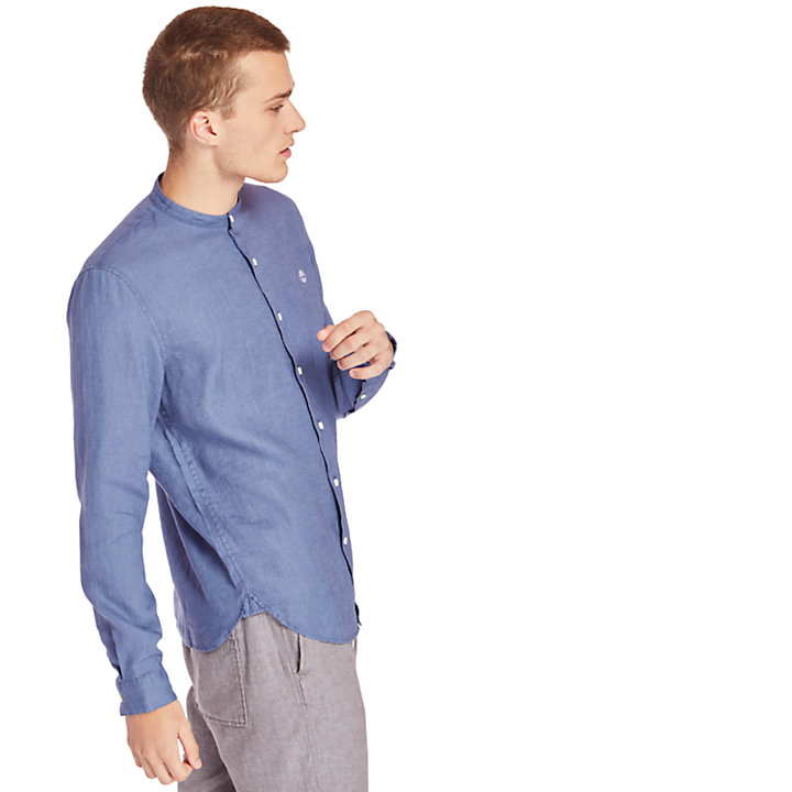 Chemise en lin Mill River pour homme en bleu-