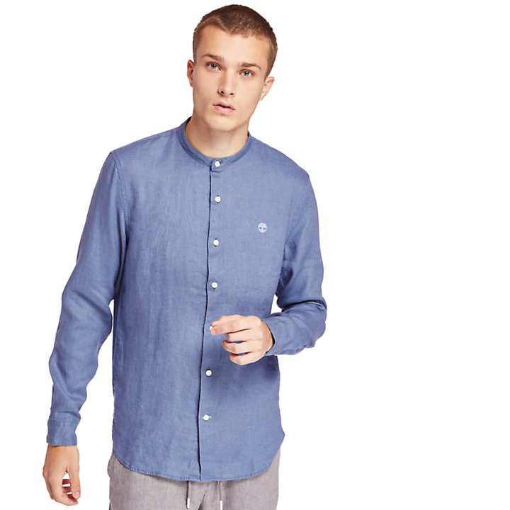 Mill River Linen Korean Collar Shirt for Men in Blue-