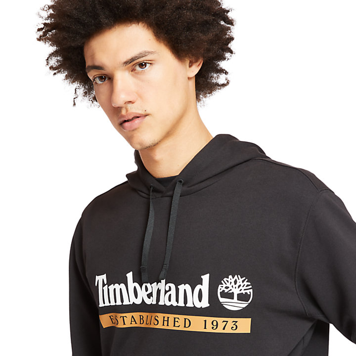 Sudadera con Capucha 'Established 1973' para Hombre en color negro-
