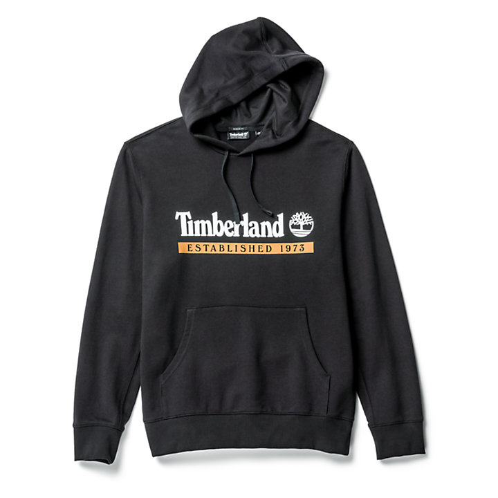 'Established 1973' Hoodie for Men in Black-