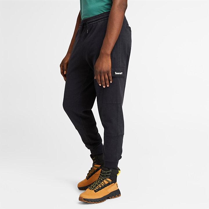 Garment-Dyed Cargo Sweatpants for Men in Black-