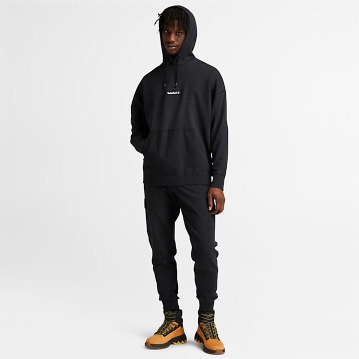Garment-Dyed Logo Hoodie for Men in Black-