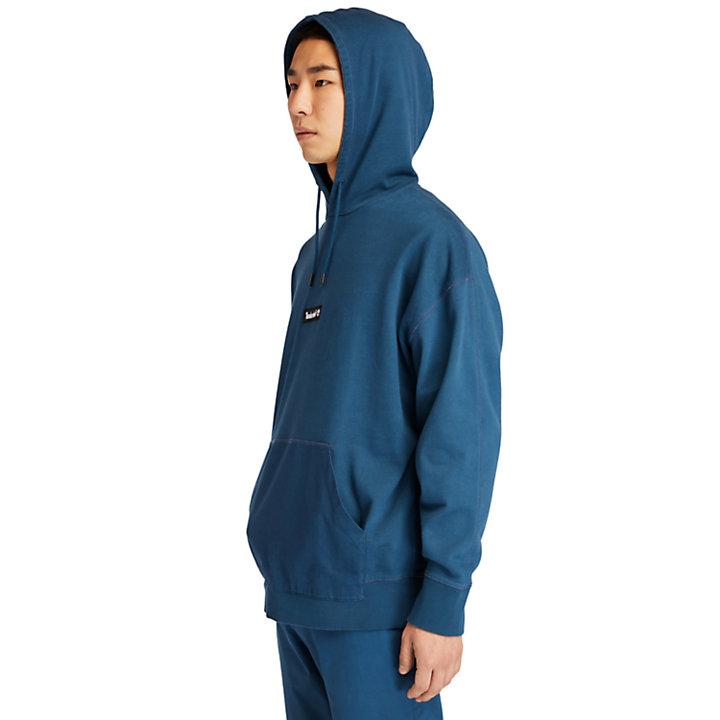 Garment-Dyed Logo Hoodie for Men in Blue-