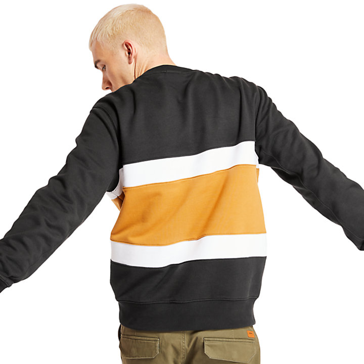 Sweat-shirt color-block pour homme en noir-
