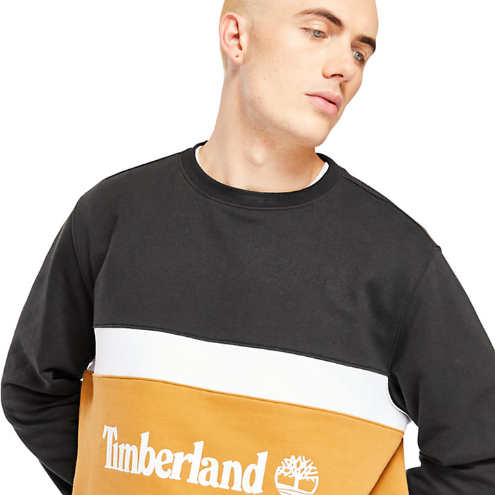 Colourblock Sweatshirt for Men in Black-