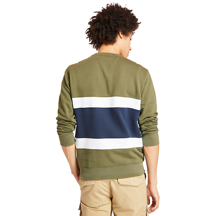 Sweat-shirt color-block pour homme en vert-