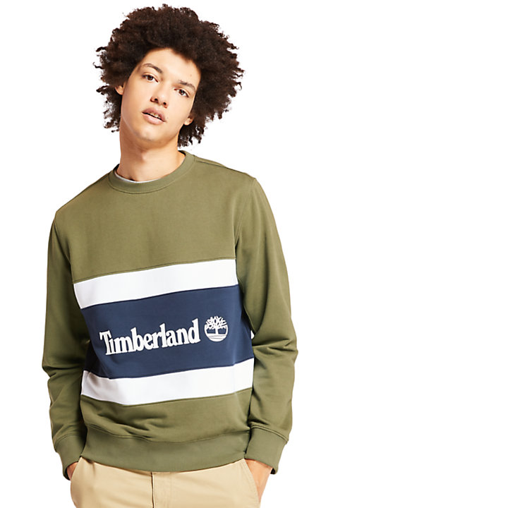 Colourblock Sweatshirt for Men in Green-