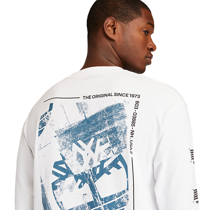 Back-Graphic LS T-Shirt for Men in White-