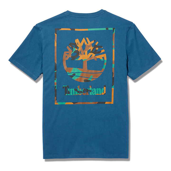 Camo-print Logo T-Shirt for Men in Blue-