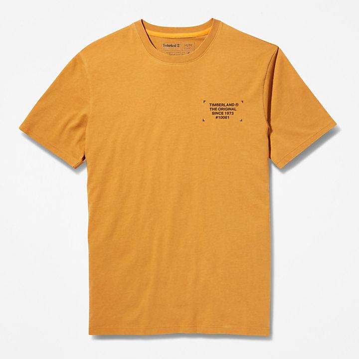 T-Shirt mit Tarnmuster und Logo für Herren in Dunkelgelb-