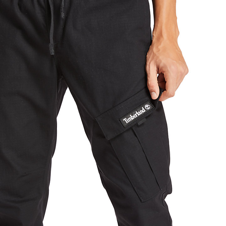 Ripstop Cargo Sweatpants for Men in Black-
