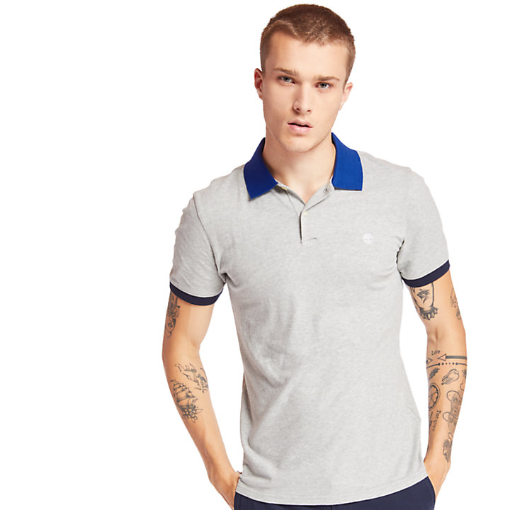 Millers River Print Polo Shirt for Men in Grey-