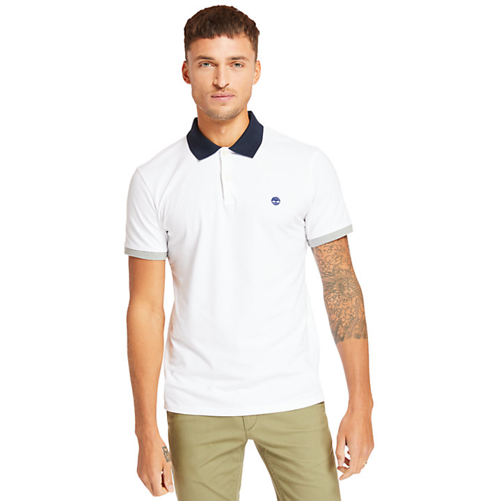 Millers River Print Polo Shirt for Men in White-