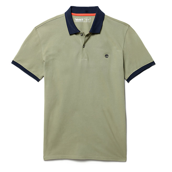 Millers River Print Polo Shirt for Men in Green-
