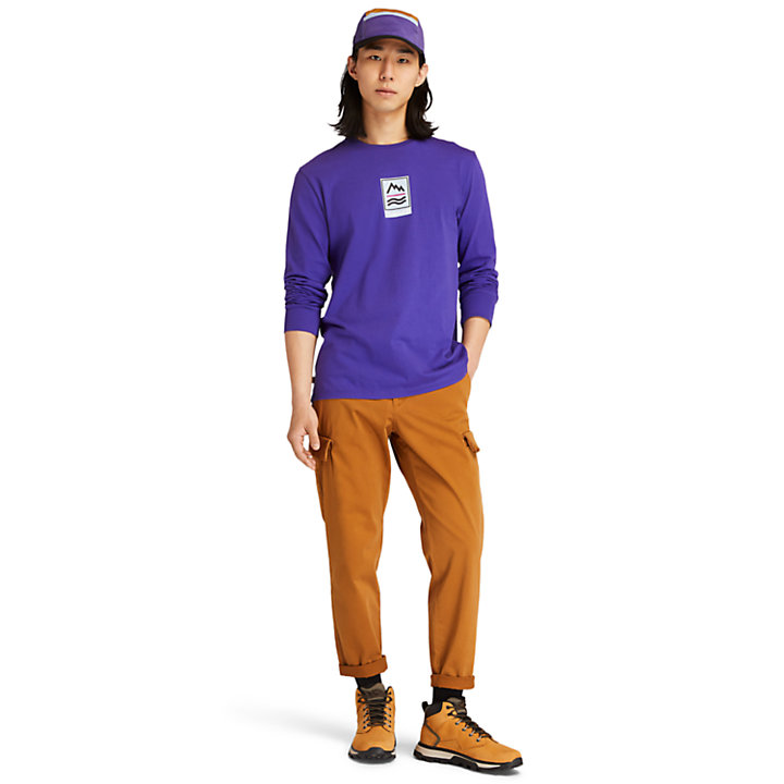 Outdoor Archive Long-sleeved Graphic T-Shirt for Men in Blue-