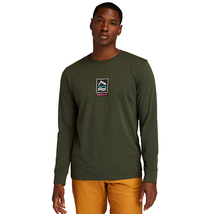 Outdoor Archive Long-sleeved Graphic T-Shirt for Men in Dark Green-
